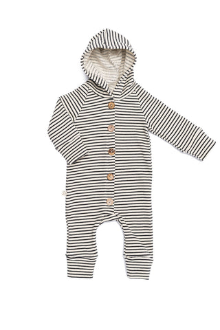 hooded romper in 'narrow natural stripe'