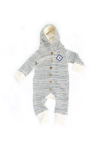 Hooded Romper in 'painted stripe'
