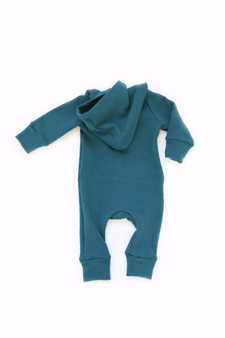Hooded Romper in 'peacock'