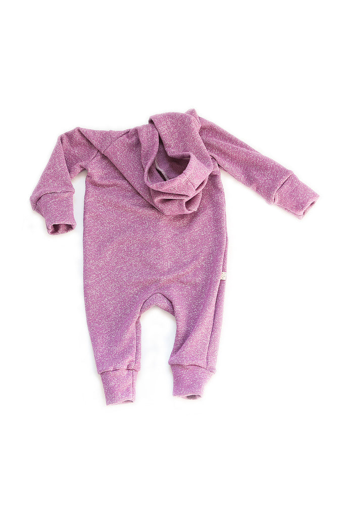 Hooded Romper in 'plum'