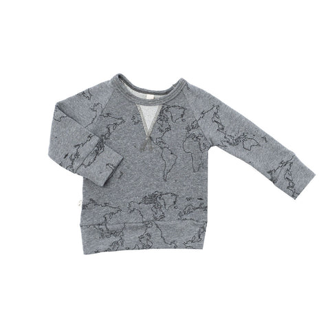 pullover crew in 'maps' on heather gray