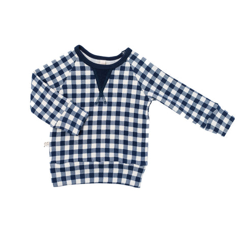 pullover crew in 'navy plaid'