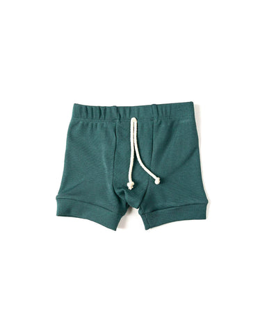 rib knit shorts - sea pine