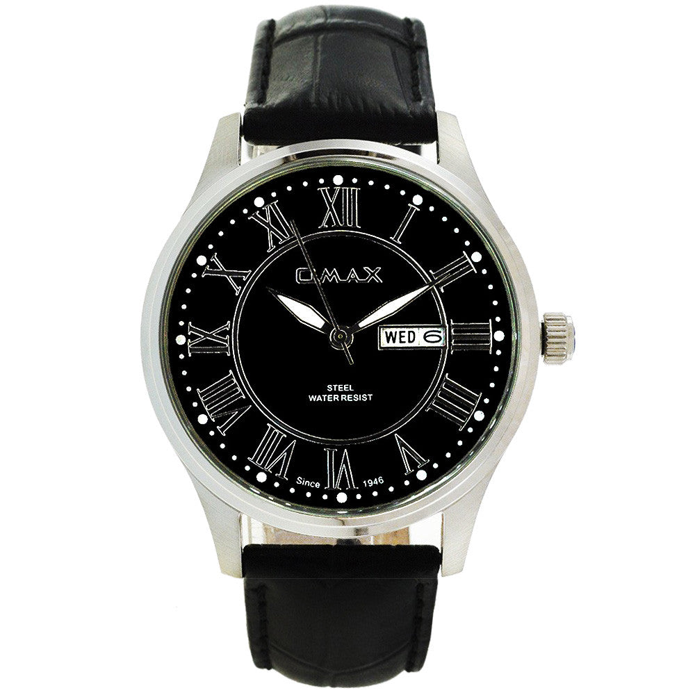 Edwin Minimalist Roman Day-Date Leather Watch
