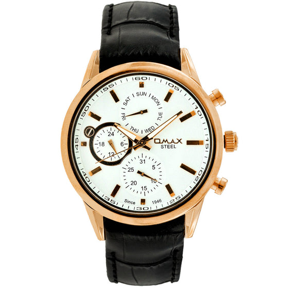 Thompson Rose Gold Multi Function Leather Watch
