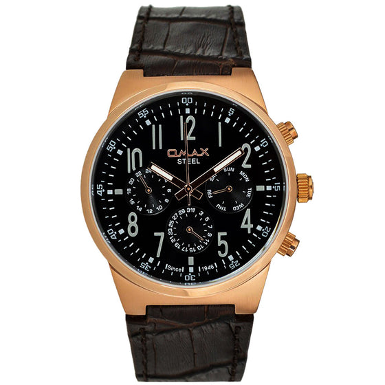 Naimer Rose Gold Stainless Steel Multi-Function Leather Band Watch