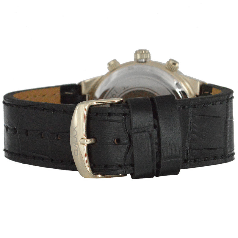 Naimer Stainless Steel Multi-Function Leather Band Watch (Black and Silver)
