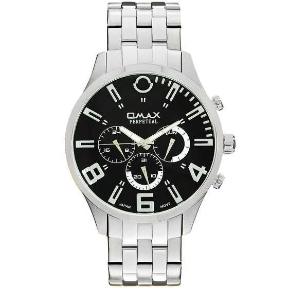 William Stainless Steel Multi-Function Watch (Black Face)