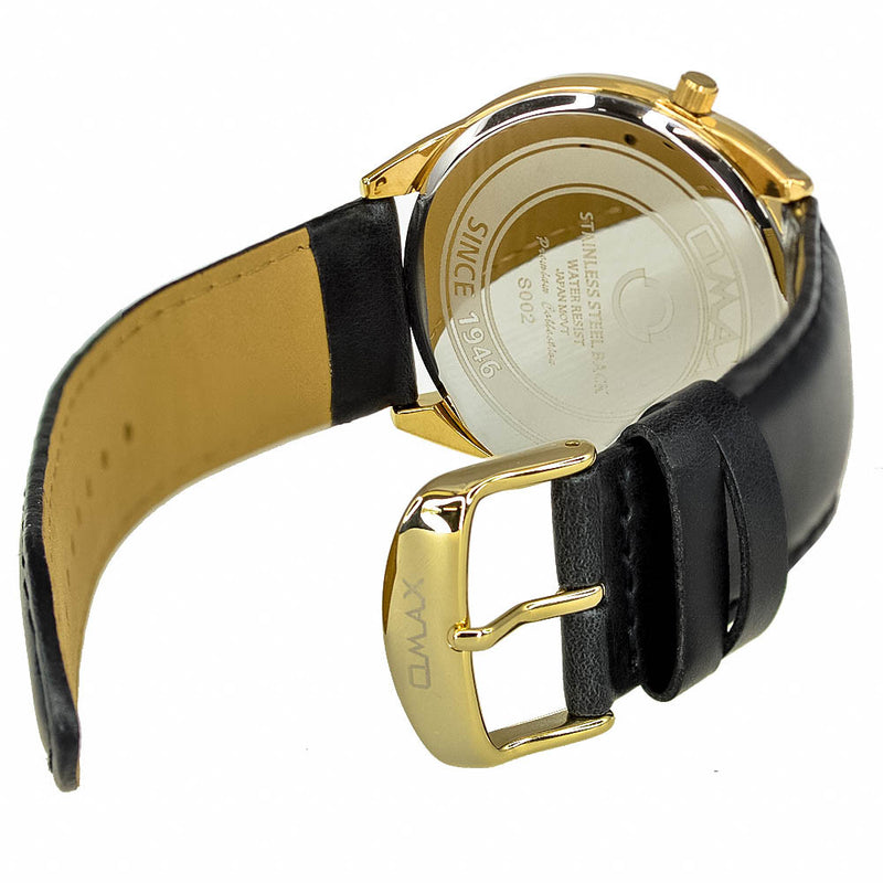 James Dual-Time Gold Minimalist Leather Band Watch