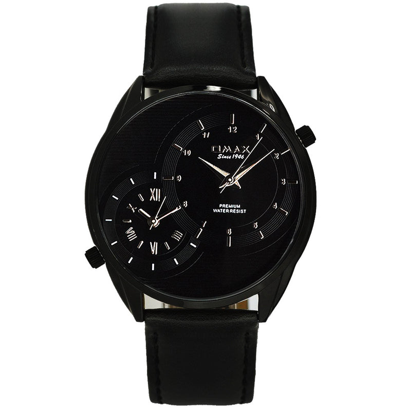 James Dual-Time Jet Black Minimalist Leather Band Watch