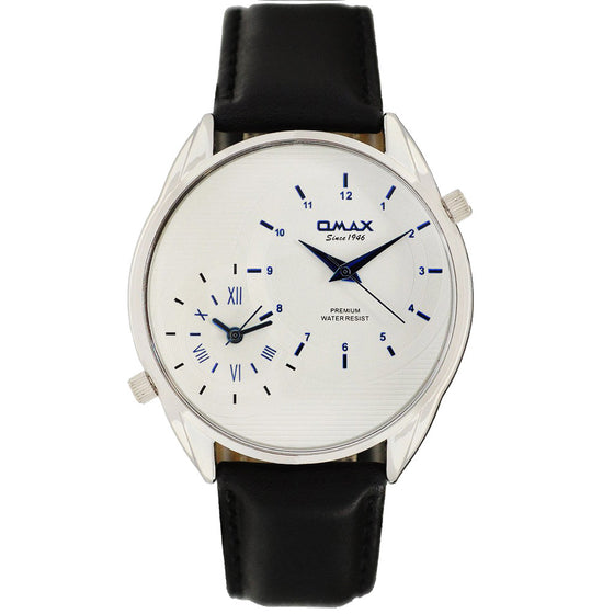 James Dual-Time Minimalist Leather Band Watch