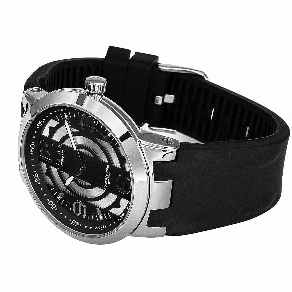 Zenith Stainless Steel Black Rubber Watch