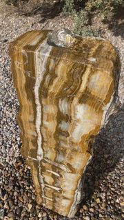 Caramel Canyon Onyx stone fountain made by The Rock Star Gallery.