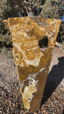 Caramel Canyon Onyx Fountain with a window from The Rock Star Gallery®