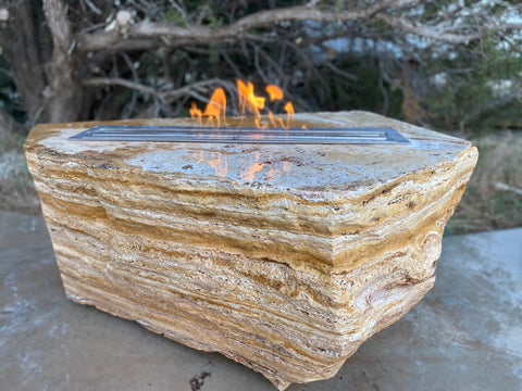 Apache Gold Travertine Stone Fire Table boulder from The Rock Star Gallery.