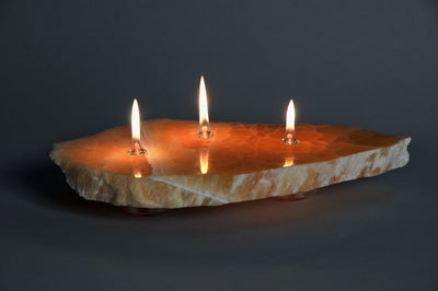 Sunrise Onyx Stone Floating Candle oil lamp by The Rock Star Gallery for interior or exterior settings.
