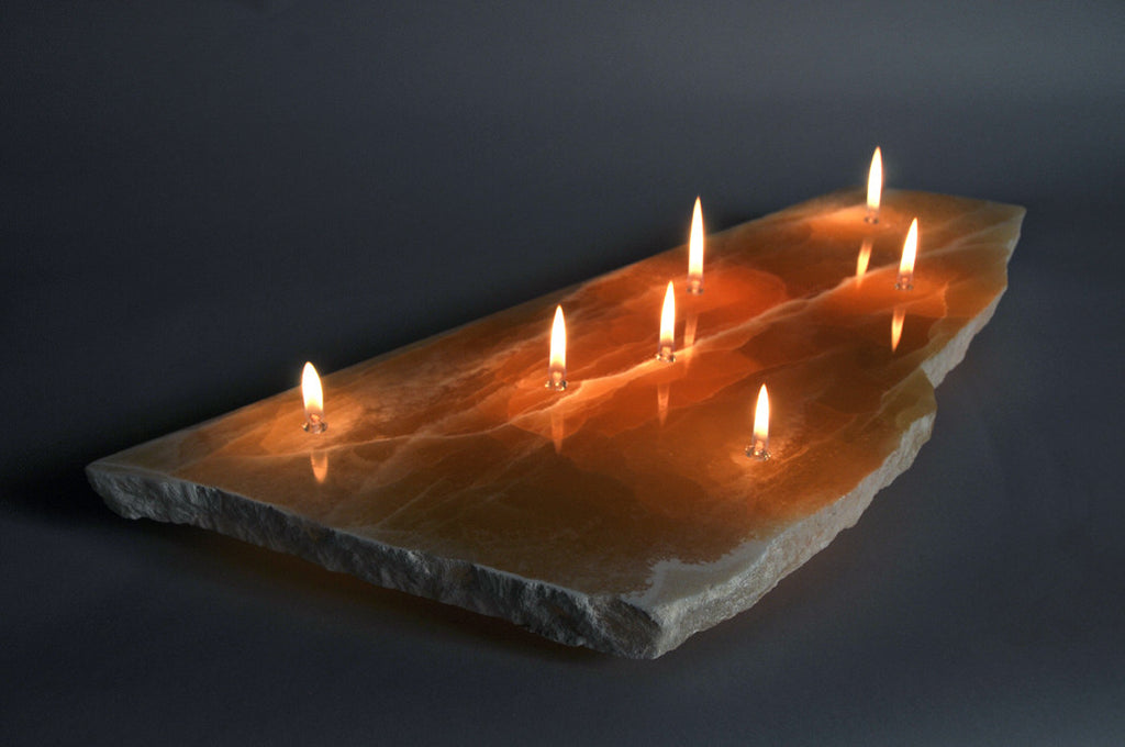 Superb Sunrise Onyx Oil Lamp   Seven Wick