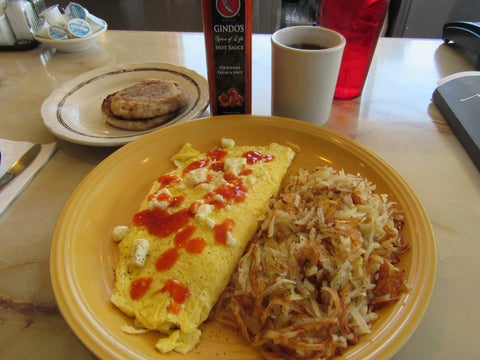State Street Diner omelette with Gindo's handcrafted award-winning Original Fresh & Spicy Louisiana style hot sauce.