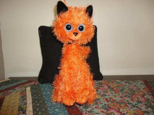 HALLOWEEN CAT Schurman Google Eyes Orange Plush Black Velvet RARE