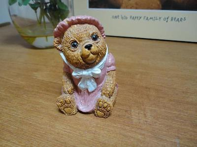 Vintage 1986 Baby Girl Bear in Pink Dress Carved Stone Figurine