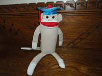 Sock Monkey Sitting 13 Inch Burlap Soft Stuffed Graduation 2012