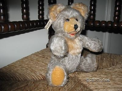 Antique Fechter Old Bear Authentic Austria 10 Inch Gray Mohair Open Mouth