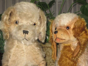 Antique DIEM German Mohair Dog Couple 1910-1915 OLD RARE