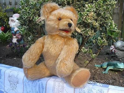 Antique Fechter Austria 1950s Blonde Mohair Bear Growler 12 Inch