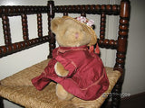 Anna Club Plush Leather Tag Line Brown Girl Teddy Bear 14 Inch Netherlands 1992