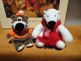 Coca Cola Polar Bear & A&W Teddy Bear Lot of 2 Cute Collectibles