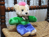 Heunec Germany Punk Teddy Bear w Earrings & Pink Mohawk