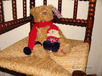 Harrods Bear Red Union Jack With Baby in Scarf 91773