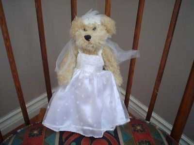 Ganz Bridal Bride Bear Wedding Gown Satin and Lace Fully Jointed H5918
