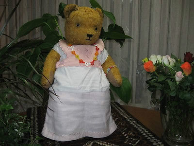 Antique 20 Inch Sonneberg Thuringia Germany Old Girl Bear 1940s
