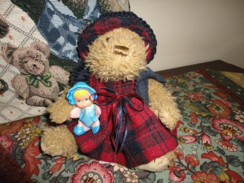 Little Girl Bear Plaid Flannel Corduroy Dress Handmade & Galoob Babydoll 1989