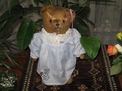 Antique Hermann BEHA Germany Girl Bear 15 Inch Glass Eyes 1930s