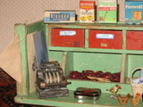 Antique 1950s Okwa Dutch Wooden Small Grocery Store with Doll & Miniatures