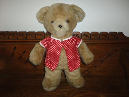 Antique Teddy Bear 14 inch Red & White Polka Dot shirt