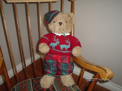 Ganz Christmas Euro Bear 1994 HX2010B Cloth Body Jumbo 19 In.