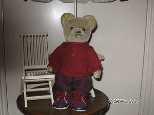 Antique Steirer Austria Mohair Bear Center Seam 14 Inch 1940s Closed Mouth