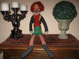 Antique 1950s Schuco German Clown Doll Long Dangling Legs 30 Inch