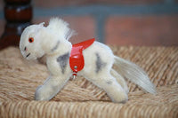 Hermann Germany Mohair Pony 1960s with Red Saddle