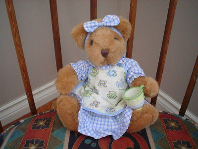 Russ Berrie Blueberry Bear 8 inch Plush with Teacup 4783