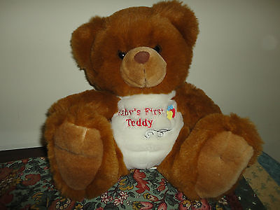 Baby's First Teddy Brown Copper Plush Sitting Bear 11 inch