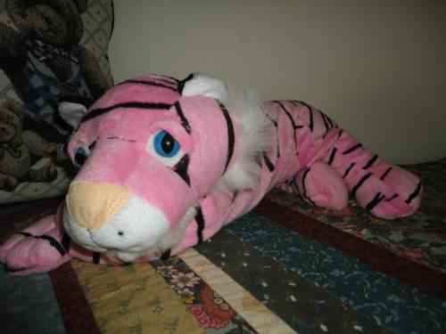 Six Flags TIGER Pink & Black Striped Velvet Exclusive 18 inch