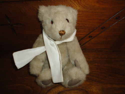 Gund 1987 Vintage BIALOSKY BEAR Cream/Gray Plush Leatherette Paws Retired