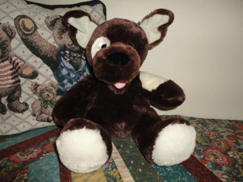 Brown and Creme Plush PUPPY DOG with Tongue Super Soft