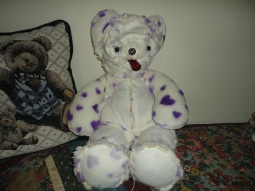 One of a Kind PLUS ART CREATURE BEAR Inside Out Furry Fabric RARE