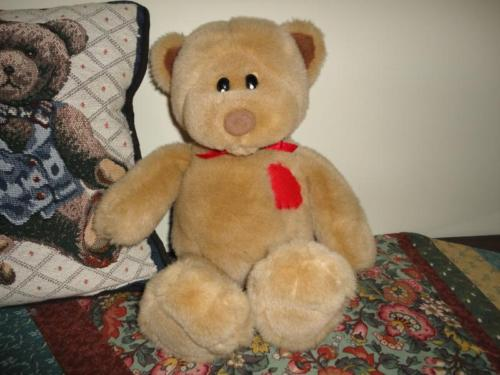 Gund 1995 Brown Bear with Patchwork Heart 14 inch