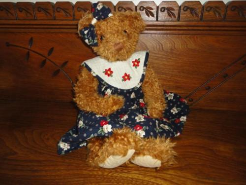 Douglas Cuddle Toys GIRL BEAR in Flowered Dress Jointed 15 inch